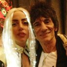 Ronnie Wood and Lady Gaga backstage