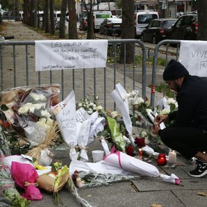 Paris attacks - flowers outside the Bataclan