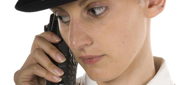 Policewoman on radio