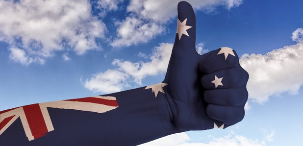 Hand clothed in Australian flag with thumbs up