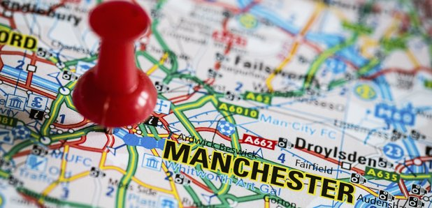 Manchester on map with pin stock image
