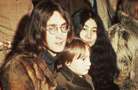 John and Julian Lennon and Yoko Ono