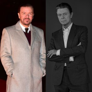 Ricky Gervais and David Bowie split screen image