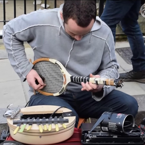 Busker makes music with everyday items